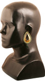 Cutwork Metal Faux Emerald Teardrop Chandelier Earrings In Gold Tone.-PWETL180-04E--Y