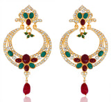 Gold Plated Multiolour Long Earrings By Touchstone- PWETL241-01AREY