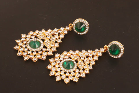 Touchstone Indian bollywood Victorian inspired white Austrian crystals and  faux emerald designer jewelry chandelier earrings in silver tone for women