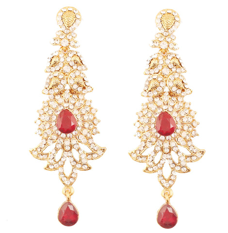 Paisley Motif White Crystals Faux Ruby Earrings In Antique Gold Tone-PWETL346-02AR-G