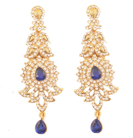 Paisley Motif White Faux Blue Sapphire Earrings In Antique Gold Tone-PWETL346-03AW-G