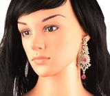 Paisley Motif White Crystals Fuchsia Long Earrings In Antique Gold Tone-PWETL346-04AZ-G