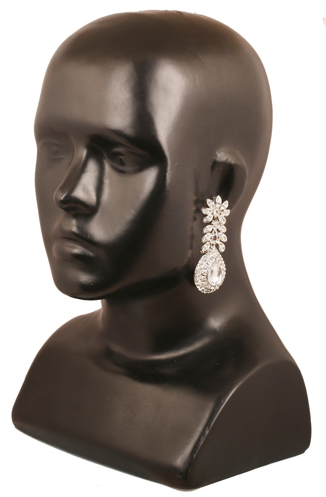 Touchstone Indian bollywood Victorian inspired floral theme round and  faceted pear shape white Austrian crystals and faceted designer jewelry
