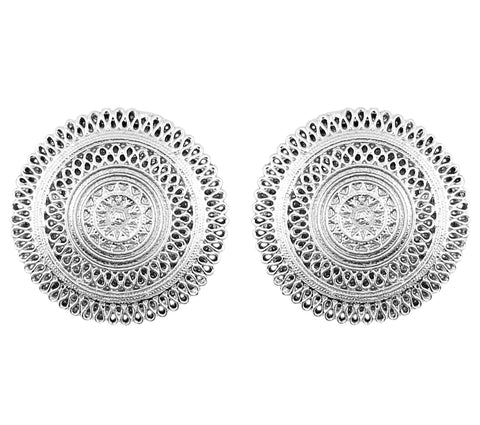 Touchstone Bohemian Mandala Round Earrings with an Intricate Pattern in an Oxidized Silver Tone for Women