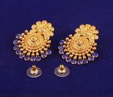 Beaten Wok Padmavati Faux Blue Sapphire Earrings In Antique Gold Tone -PWETL361-04W--G