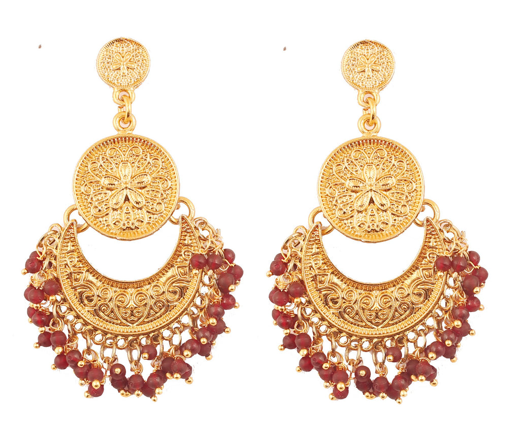 Finely Embossed Red Beads Chandbaali Earrings In Antique Gold Tone -PWETL362-02---G