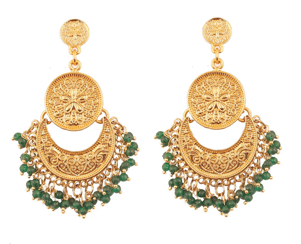 Finely Embossed Green Beads Chandbaali Earrings In Antique Gold Tone -PWETL362-03---G