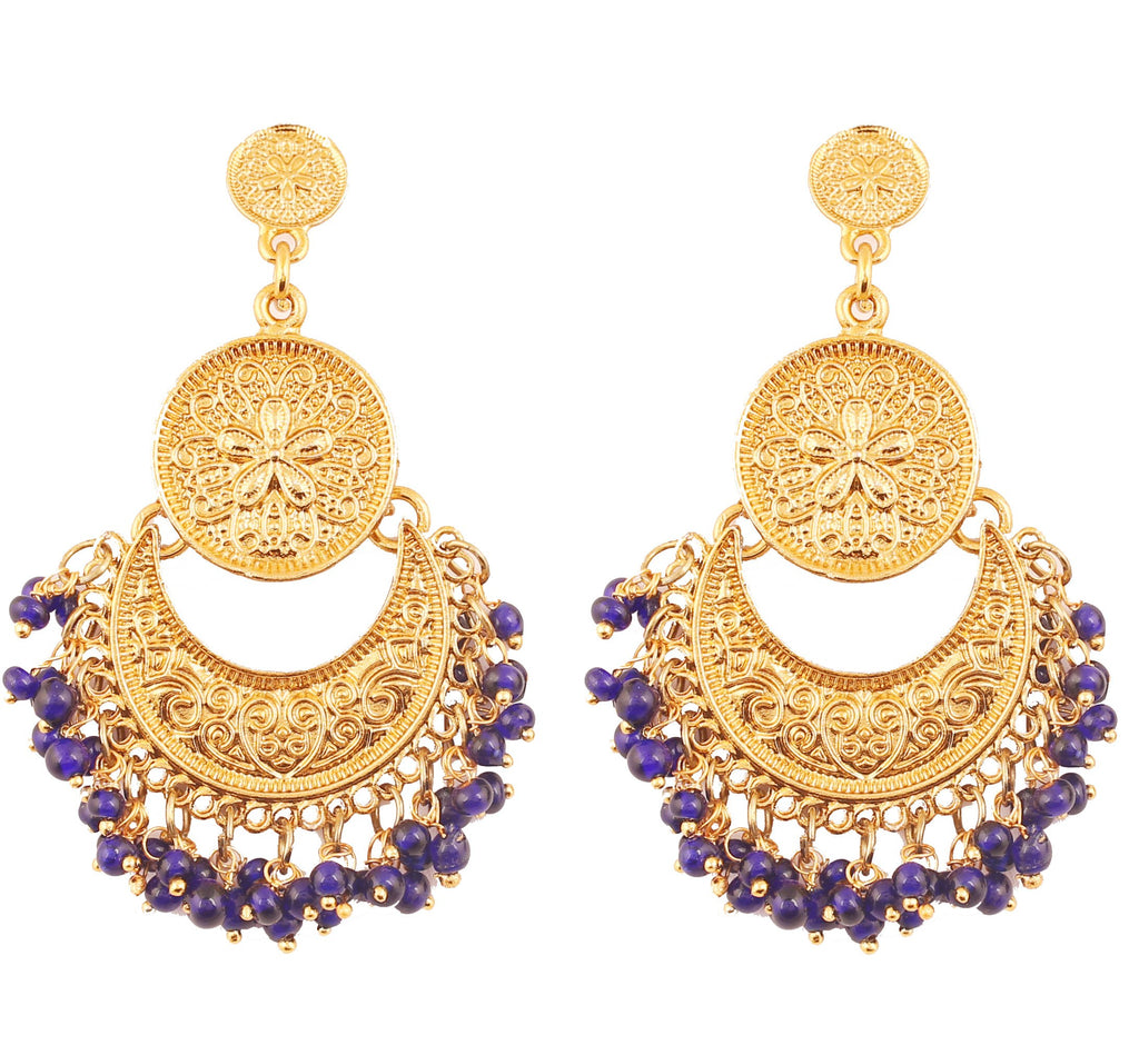 Finely Embossed Blue Beads Chandbaali Earrings In Antique Gold Tone -PWETL362-04---G