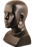 Finely Embossed Designer Half Moon Chandbaali Earrings In Silver Tone-PWETL362-06---W