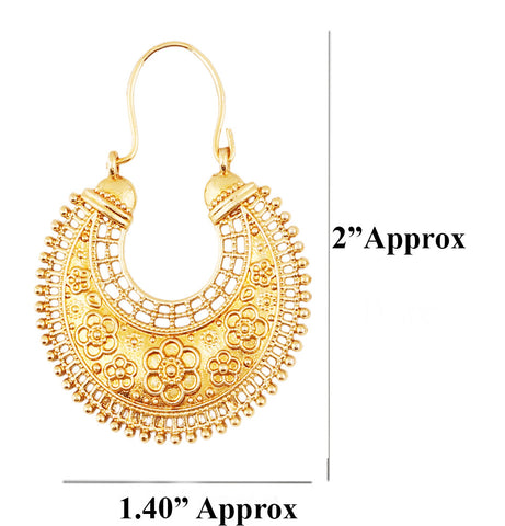 Touchstone Indian Bollywood pretty fringes and floral theme ethnic south Indian Chandbali Moon bridal designer jewelry chandelier earrings for women in antique gold tone-PWETL363-01---G