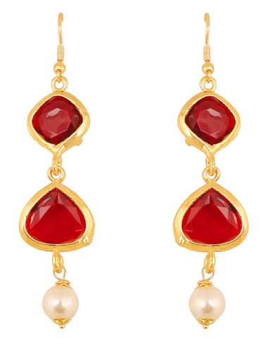 Square And Heart Shape Red Faux Ruby Pearls Long Earrings In Gold Tone -PWETL368-01R--Y