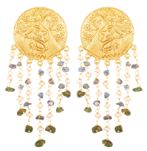 Touchstone Indian Bollywood Pretty Round Embossed And Carved Peacock Theme Bahubali Inspired Designer Jewelry Earrings Hung With Natural Aventurine Lapis And Fresh Water Pearls For Women in Gold Tone.-PWETL370-01---Y
