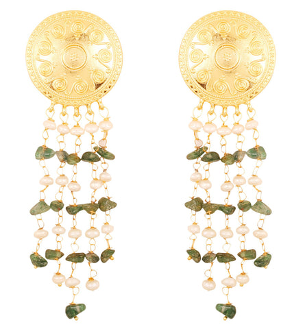 Touchstone Indian Bollywood ethnic style caving work designer jewelry dangling earrings hung with natural uncut aventurine and fresh water pearls for women in gold tone.