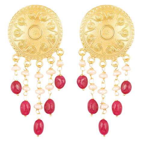 Touchstone Indian Bollywood Ethnic Style Carving Work Round Shape Bahubali Inspired Designer Jewelry Dangling Earrings Hung With Red Onyx And Fresh Water Pearls For Women in gold tone.-PWETL372-02---Y