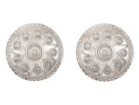 Touchstone Indian Bollywood Ethnic Style Carving Embossing Work Round Shape Bahubali Inspired Designer Jewelry Earrings for women in Oxidized Silver Tone.-PWETL372-04---R