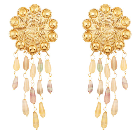 Touchstone Indian Bollywood Floral Motif Theme Bahubali Inspired Fluorite Drops Hangings Designer Jewelry Dangling Earrings For Women in Antique Gold Tone.-PWETL373-01---G