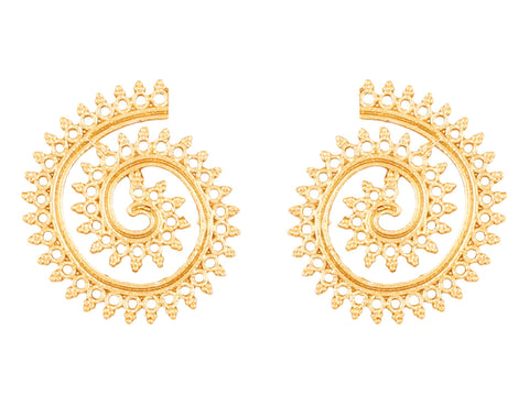 Touchstone Indian Bollywood exclusive mesh work zigzag theme light weight designer jewelry earrings for women  in gold  tone