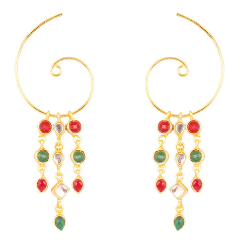 Touchstone Indian Bollywood studded Kundan polki faux ruby and emerald designer jewelry hoop earrings for women in gold tone.-PWETL382-01KREY