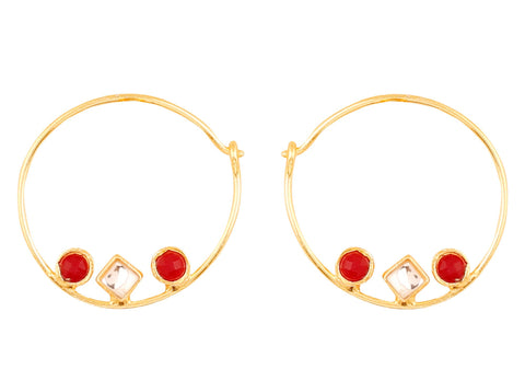 Touchstone Indian Bollywood traditional and modern thin wire hoop bali designer jewelry earrings embellished with faux ruby and Kundan polki stones for women in gold tone.-PWETL384-01KR-Y