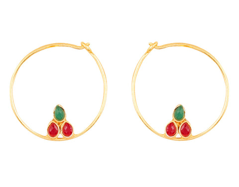 Touchstone Indian Bollywood traditional and modern thin wire hoop bali designer jewelry earrings embellished with faux ruby and Kundan polki stones for women in gold tone.-PWETL385-01KR-Y
