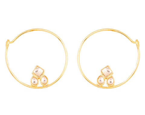 Touchstone Indian Bollywood traditional and modern thin wire hoop bali designer Kundan polki jewelry earrings  for women in gold tone.-PWETL386-01K--Y