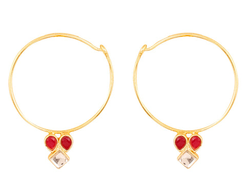 2e7c28ae5 Touchstone Indian Bollywood traditional and modern thin wire hoop bali  designer Kundan polki jewelry earrings for