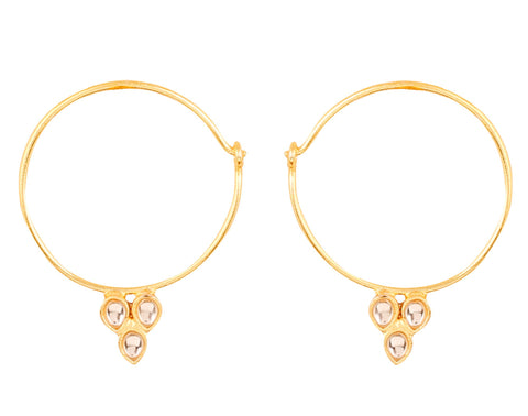 Touchstone Indian Bollywood traditional and modern thin wire hoop bali designer Kundan polki jewelry earrings  for women in gold tone.-PWETL389-01K--Y
