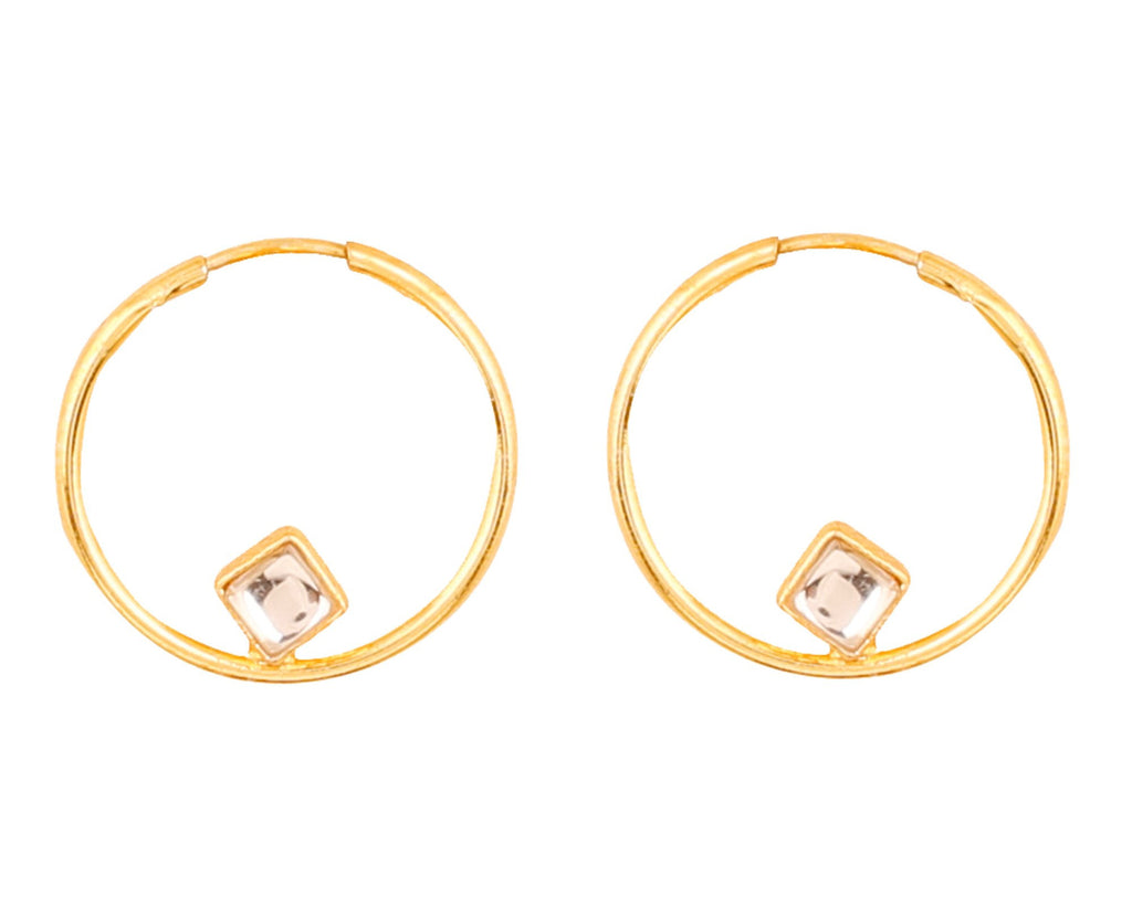 Touchstone Indian Bollywood traditional and modern thin wire hoop bali designer Kundan polki jewelry earrings  for women in gold tone.-PWETL392-01K--Y