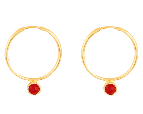 Touchstone Indian Bollywood traditional and modern thin wire hoop bali designer jewelry earrings embellished with faux ruby and Kundan polki stones for women in gold tone.-PWETL394-01R--Y