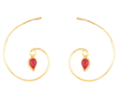 Touchstone Indian Bollywood studded Kundan polki faux ruby designer jewelry hoop earrings for women in gold tone.-PWETL396-01R--Y