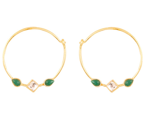 Touchstone Indian Bollywood traditional and modern thin wire hoop bali designer jewelry earrings embellished with faux emerald and Kundan polki stones for women in gold tone.-PWETL397-01KE-Y