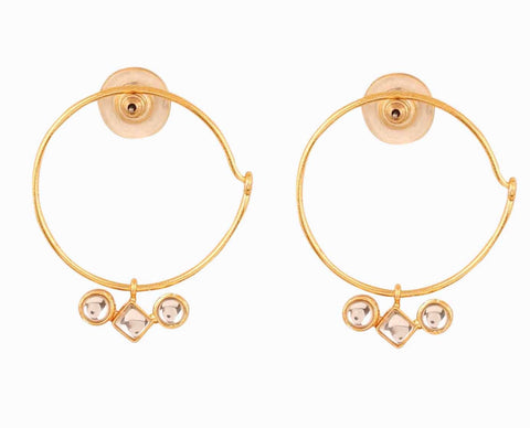 Touchstone Indian Bollywood Kundan Polki Look Hoop Bali Earrings For Women In Gold Tone.-PWETL399-01K--Y