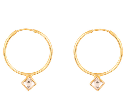 Touchstone Indian Bollywood Kundan Polki Look Hoop Bali Earrings For Women In Gold Tone.-PWETL401-01K--Y