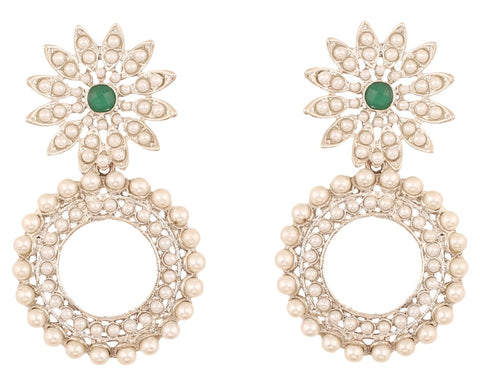 Touchstone Indian Bollywood attractive floral grand designer jewelry chandelier earrings embellished with faux pearls and emerald for women in silver finish.
