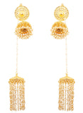 Exclusive Kashmere Faux Pearls Hangings  Jhumki Earrings in Gold Tone -PWETL404-01---Y