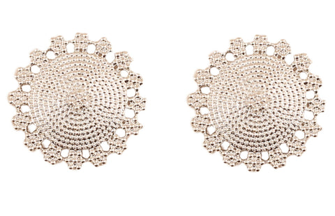 Touchstone Dramatic Mandala Round Earrings with a Fine Intricate Pattern  in Oxidized  Silver Tone for Women