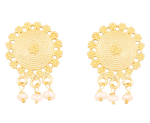 Touchstone Indian Bollywood southern statement designer jewelry earrings for women in gold tone.-PWETL473-03---Y