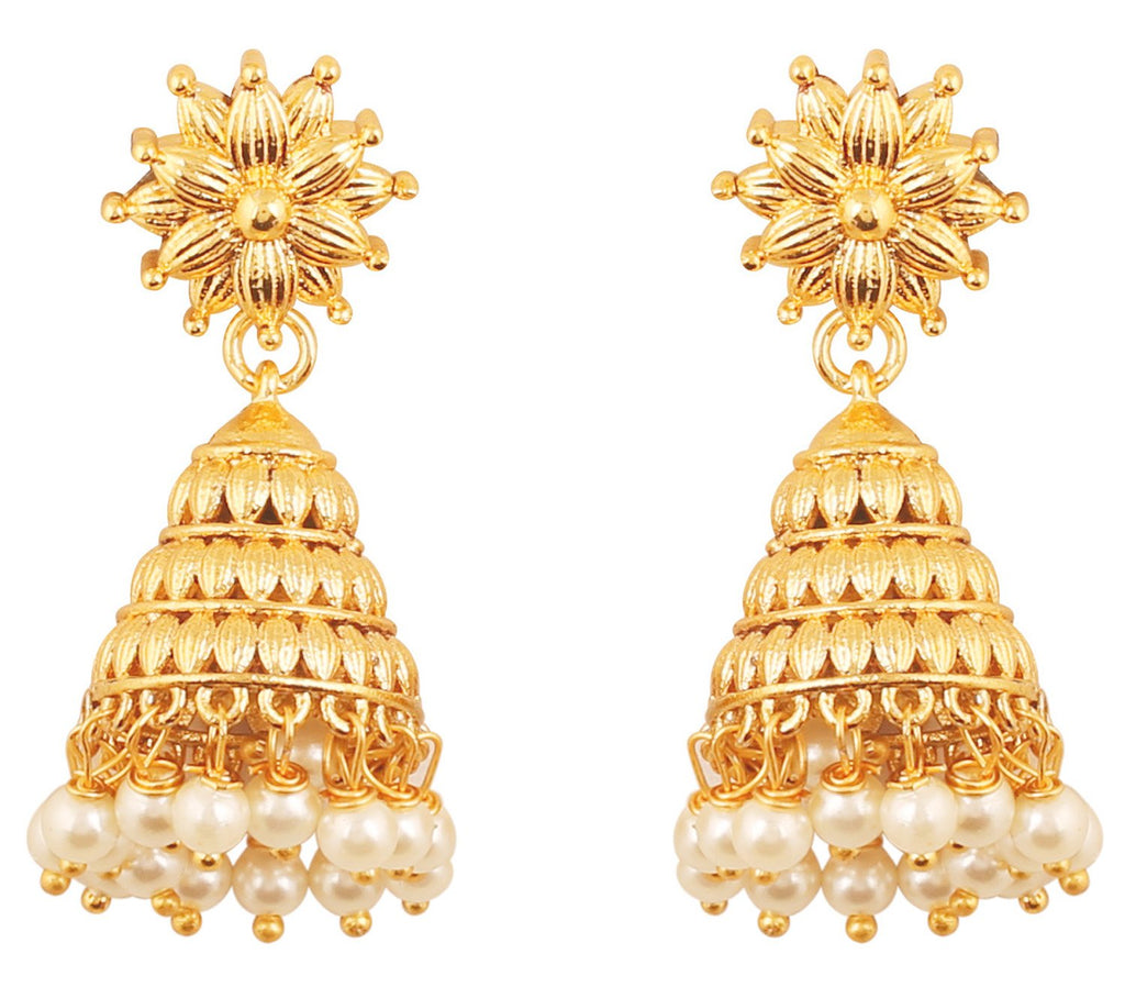 Bahubali Fame White Faux Pearls Designer Jhumki Earrings In Gold Tone-PWETL481-01---Y