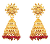 Bahubali Fame Red Glass Beads Designer Jhumki Earrings In Gold Tone-PWETL481-02---Y