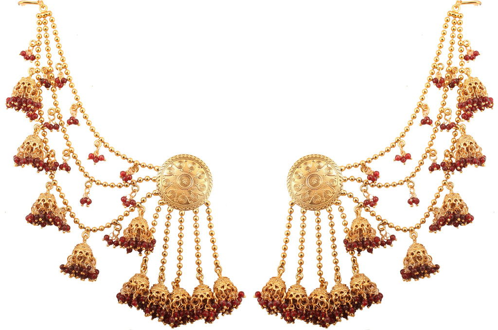 Innovative And Stylish Look Devsena Fame Maroon Earrings Antique Gold -PWETL482-01---G