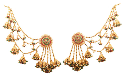 Bahubali Fame Ultra Modern Red Green White Earrings In Antique Gold Tone-PWETL483-01PREG