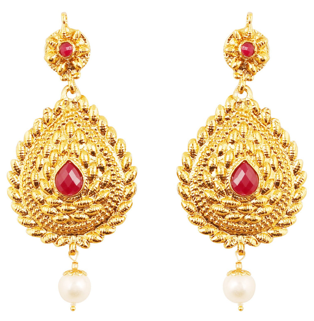 Classy Indian Red Faux Ruby Pearl Earrings In Antique Gold Tone.-PWETL484-01R--G