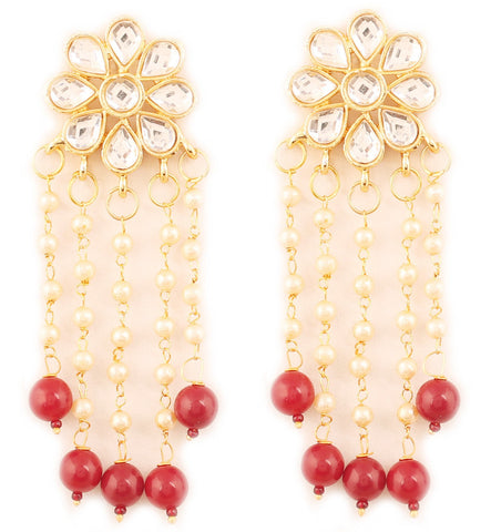 Exotic Kundan Look White Faux Pearl Red Beads Earrings In Gold Tone -PWETL485-01K--Y