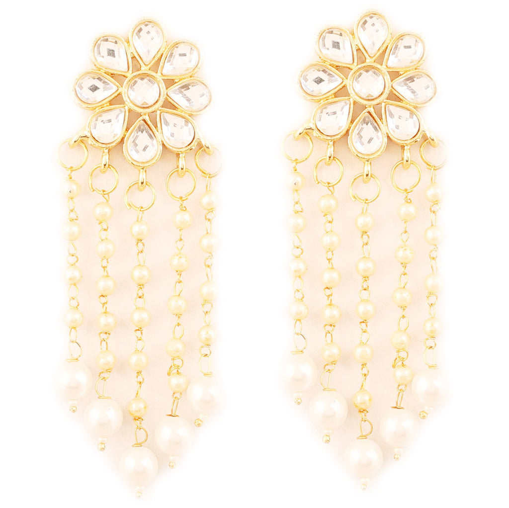 Ravishing Kundan Look White Faux Pearl Floral Earrings In Gold Tone -PWETL485-02K--Y