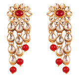 "NEW! Touchstone ""Contemporary Kundan"" Exotic Indian Bollywood Desire Royal Mughal Kundan Polki Look Floral Faux Ruby Jewelry Chandelier Earrings"