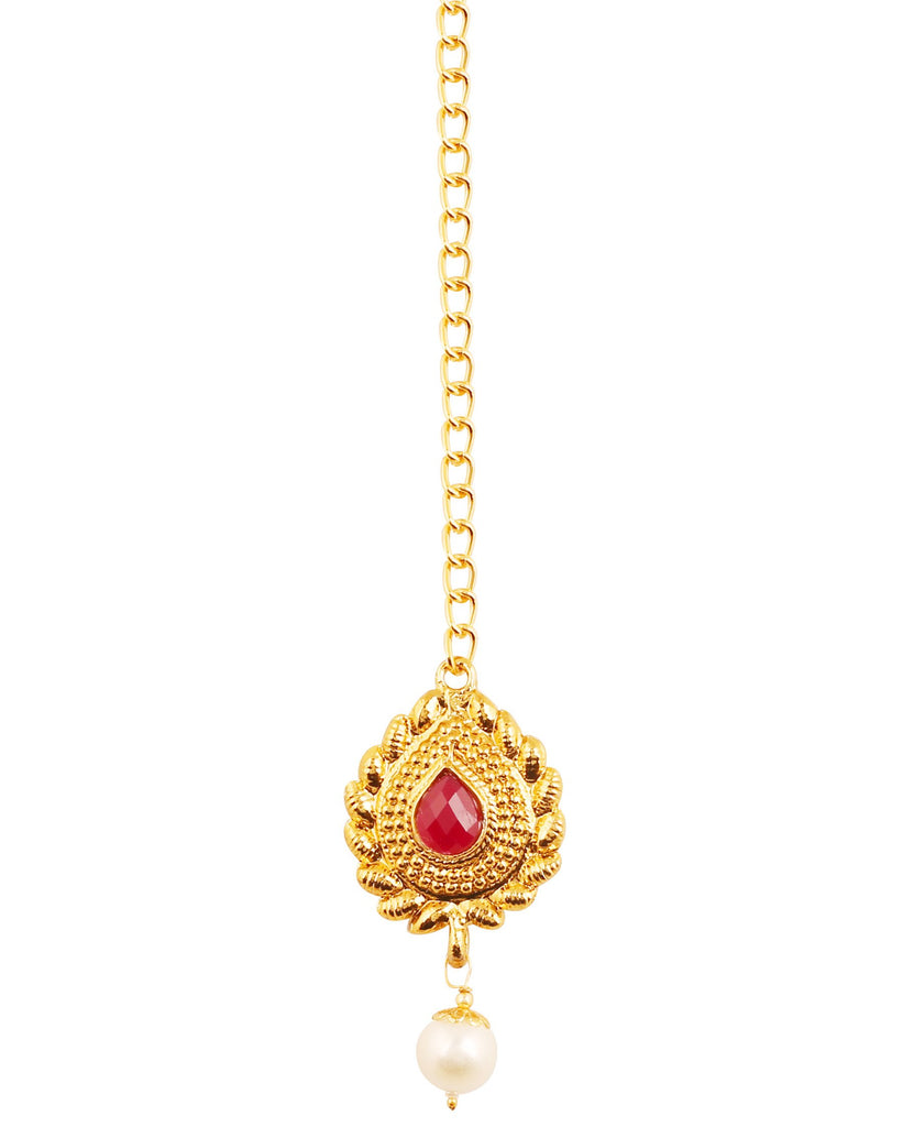 Pretty Faux Ruby/Pearls Mangtika With Chain In Antique Gold Tone.-PWMTL008-01R--G