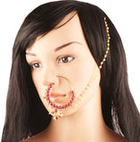 Bollywood Desire Ethnic Faux Ruby Nath (Nose Accessory) In Gold Tone-PWNRL002-01---Y