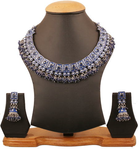Touchstone Indian Bollywood Mughal Kundan polki meenakari enamel magical and mystical style faux tanzanite and fresh -PWNSE001-01PW-W