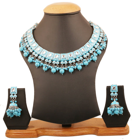 Touchstone Indian Bollywood Mughal Kundan Polki Meenakari Enamel Magical And Mystical Style Grand Designer Jewelry Necklace Set Beautifully Hung With Faux Turquoise Beads Women In Silver Tone.-PWNSE001-03KP-W