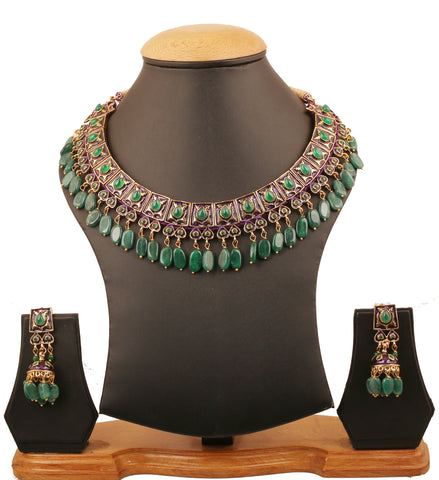 Touchstone Indian Bollywood Mughal Kundan Polki Meenakari Enamel Magical And Mystical Style Grand Designer Jewelry Necklace Set Embellished with Natural Green Onyx  Emerald Beautifully Hung -PWNSE001-04E--Y